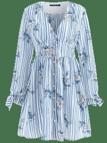 Vestido Rayas Multicolor Floral Abotonado S A v0T0S