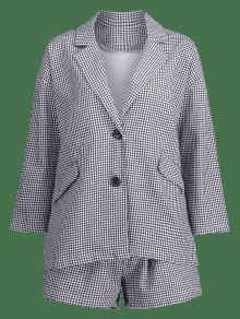De Negro Cuadros Vichy Pantal Conjunto Corto 243;n Abotonado De 1fxwfqPA