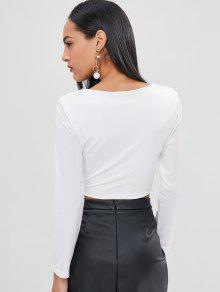 Crop Manga Blanco Top Larga Cruzada S TTgrw