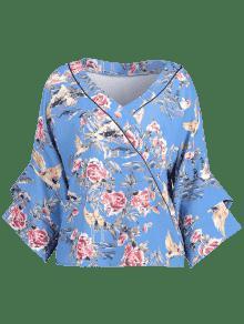 Floral Tie Manga Kimono De Azul S Blusa Eg0qww