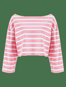 Rayas Rosado S Recortadas Camiseta De R65w88