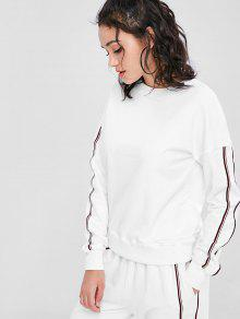 Soprty Striped Panel Blanco Sweatshirt S FrFq8nwBd