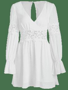 De Encaje Blanco Panel De De Corte Vestido S IqFHw