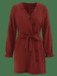 Laterales Casta Rojo 243;n Y Larga Con o De Manga Botones S Cintur Vestido qZz8OOw