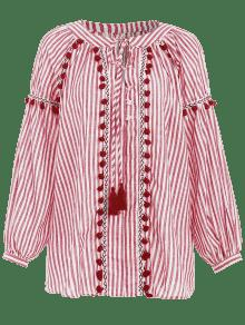 M Pom Larga Rojo Manga Pom De Camiseta A Smock Rayas qZ4xPB
