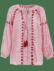 Rayas Larga A Camiseta Manga Pom De Smock Rojo M Pom xwIxA