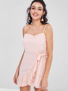 Vestido Camisero Con Volantes - Chicle Rosa L