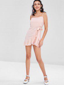 Rosa Vestido Con L Camisero Chicle Volantes v6nq4C6wB