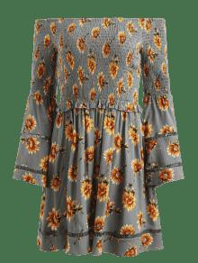 S De Gris Mangas Vestido Vuelo Con Acampanadas Acorazado Floreado Y Floral qxT6Rvw