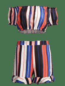 Rayas De Conjunto A M Cortos Pantalones Multi Con Volantes UZ44qYRF