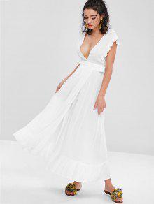 1db7cc1da6f 31% OFF   HOT  2019 Ruffles Wrap Maxi Dress In WHITE