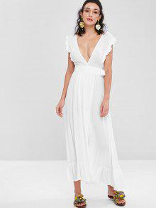 31c7f5453c 31% OFF   HOT  2019 Ruffles Wrap Maxi Dress In WHITE
