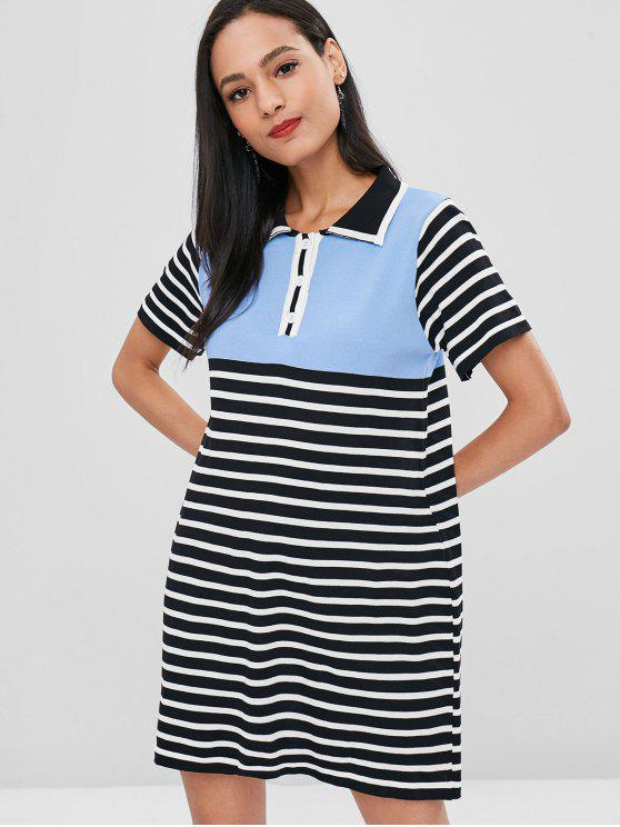 unique Half Button Contrast Striped Dress - MULTI ONE SIZE