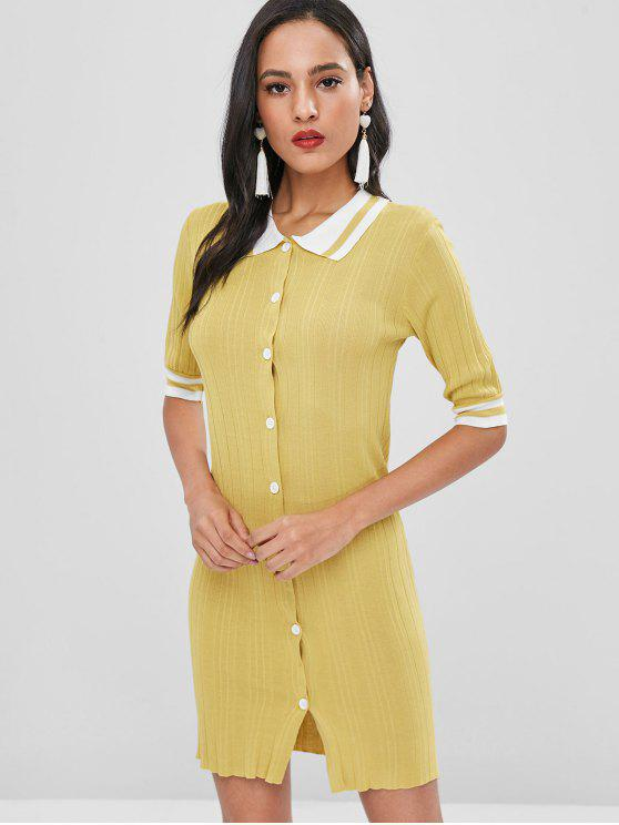 sale Button Up Striped Shift Dress - HARVEST YELLOW ONE SIZE