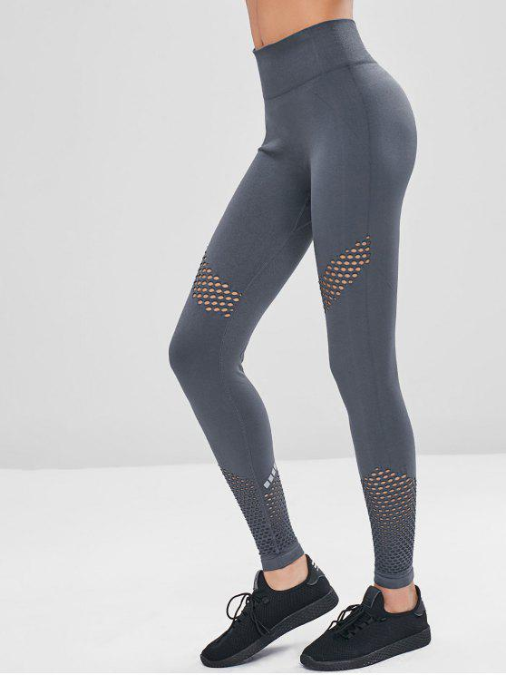 best Gym High Waisted Perforated Seamless Leggings - GRAY L