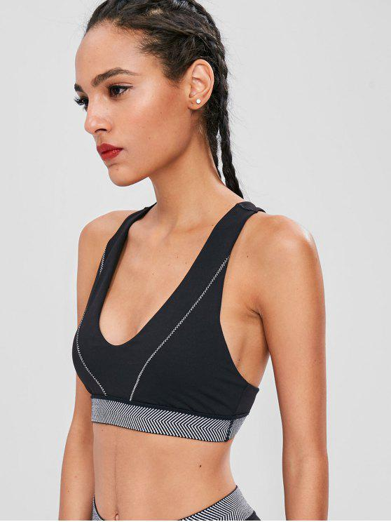 women's Zig Zag Racerback Sports Bra - BLACK M