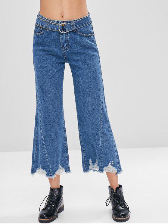 Frayed Hem Belted Ripped Jeans - Azul Oscuro de Denim M