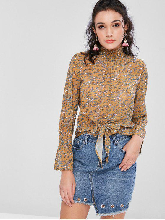 fashion Bell Sleeves Knotted Floral Blouse - DARK GOLDENROD S