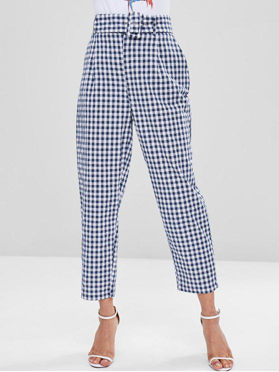 affordable Gingham Pockets Belted High Waisted Pants - MULTI XS