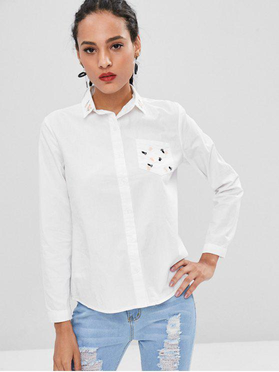 womens Little Feet Embroidery Cotton Shirt - WHITE L