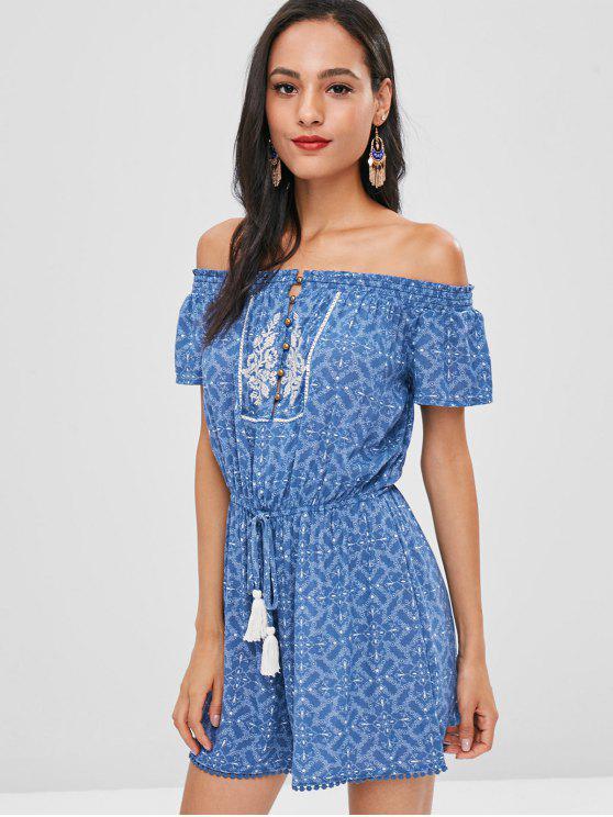 online Tasselled Floral Off The Shoulder Romper - BLUE L