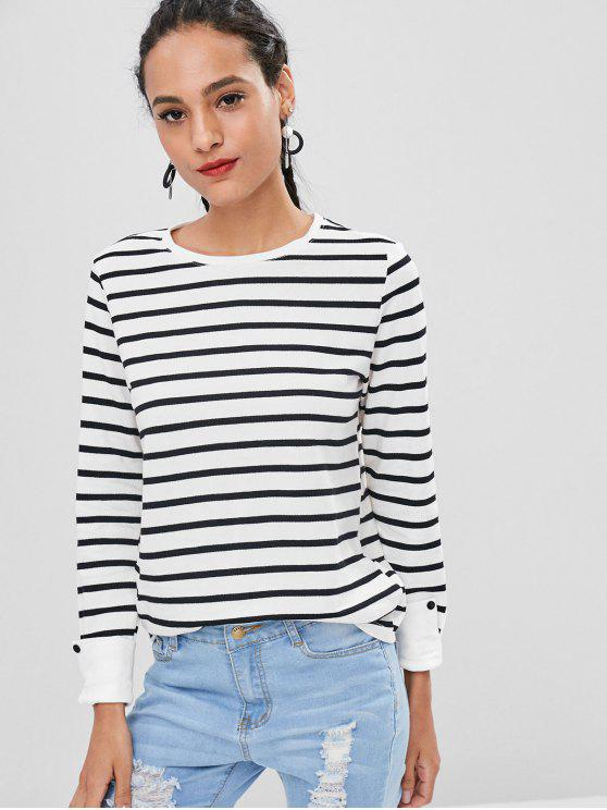 women Turned Up Cuffs Striped Long Sleeve Tee - WHITE S