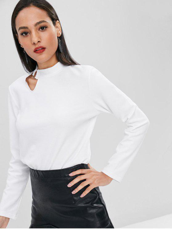 online Cut Out Long Sleeve Tee - MILK WHITE S