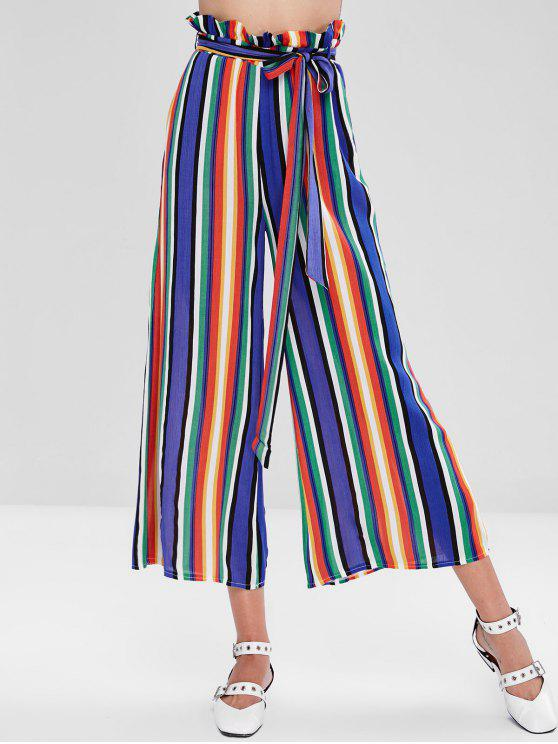 Striped Ruffle Wide Leg Pants - Multicolor M