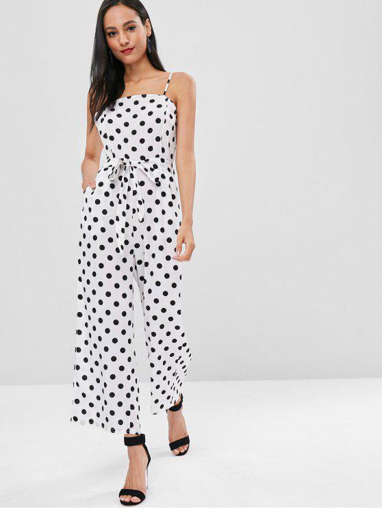 ladies Polka Dot Belted Cami Jumpsuit - MILK WHITE XL