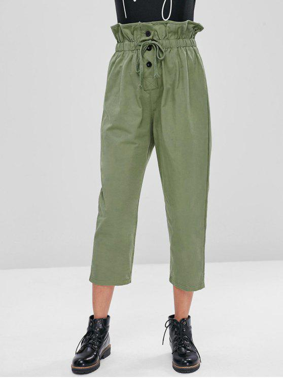 affordable Drawstring High Waisted Pants - IGUANA GREEN M