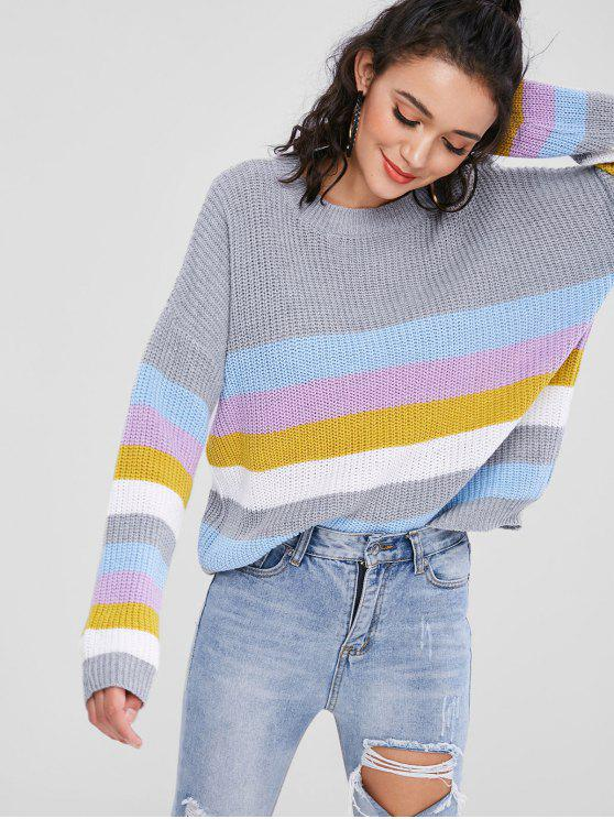online Pullover Colorful Stripes Sweater - MULTI ONE SIZE