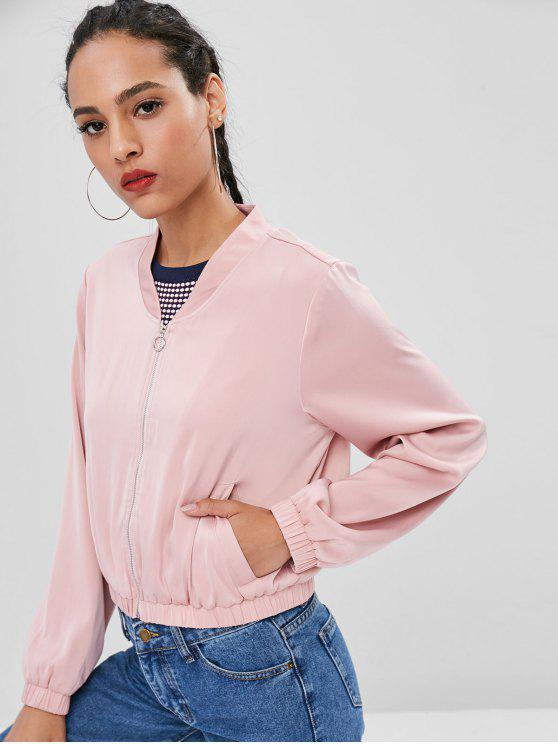 outfit Zip Front Pockets Jacket - PINK M