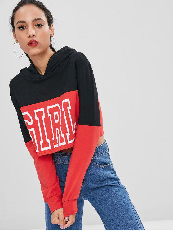 unique Girl Graphic Two Tone Hoodie - BLACK S