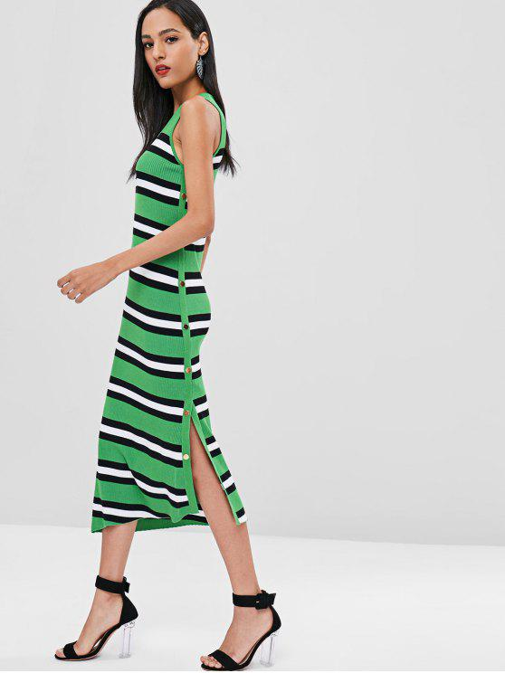women Maxi Striped Slit Knit Tank Dress - GREEN M