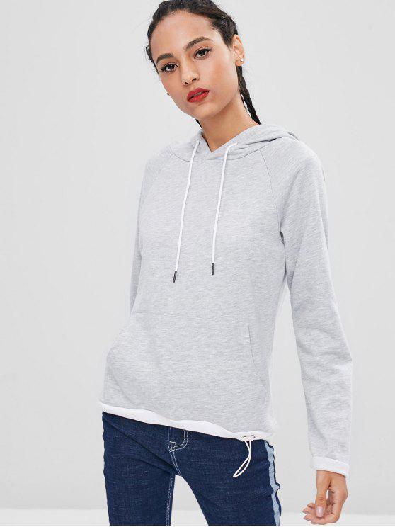 shop Loose Raglan Sleeve Contrasting Hoodie - LIGHT GRAY S