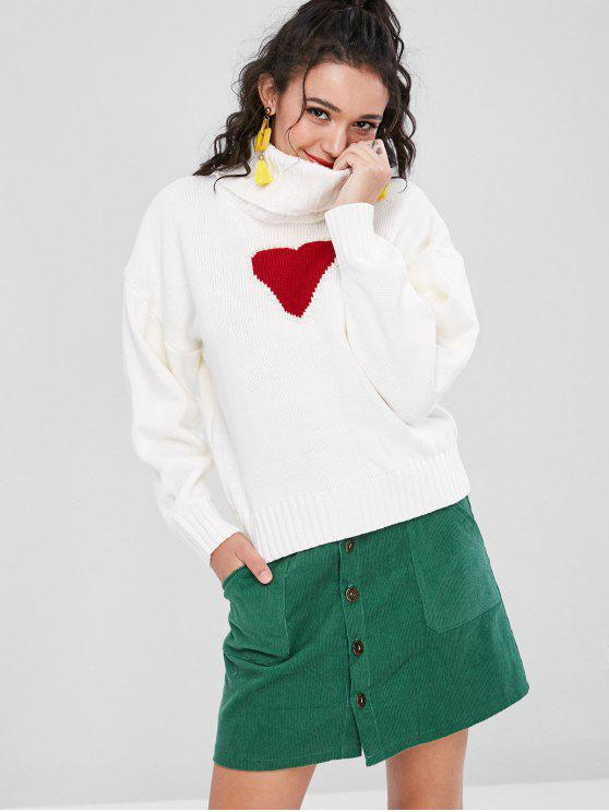 ladies Heart Faux Pearls Sweater - WHITE S