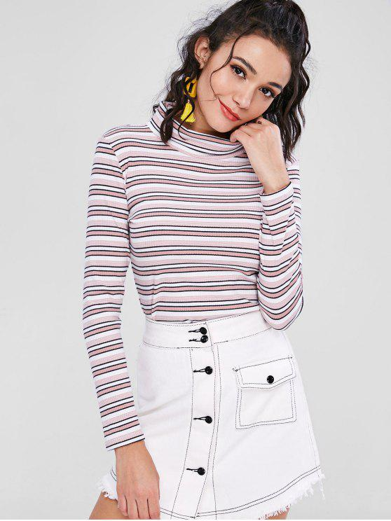 outfit Long Sleeve Turtleneck Striped Ribbed Tee - MULTI L
