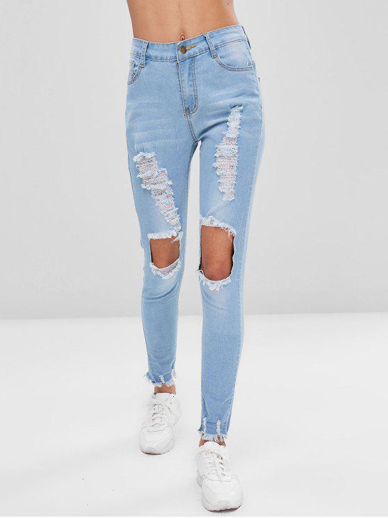 affordable Frayed Destroyed Skinny Jeans - JEANS BLUE L