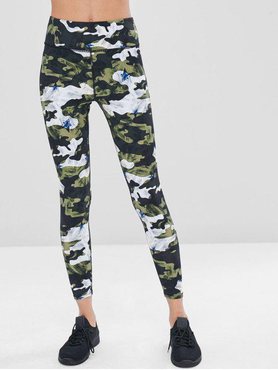 sale Camouflage High Waisted Gym Leggings - PINE GREEN L