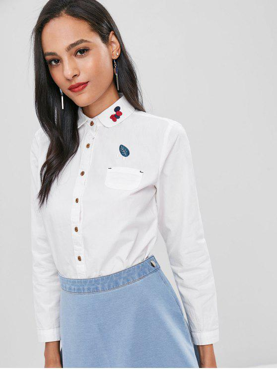 hot Front Pocket Embroidery Cotton Shirt - WHITE L
