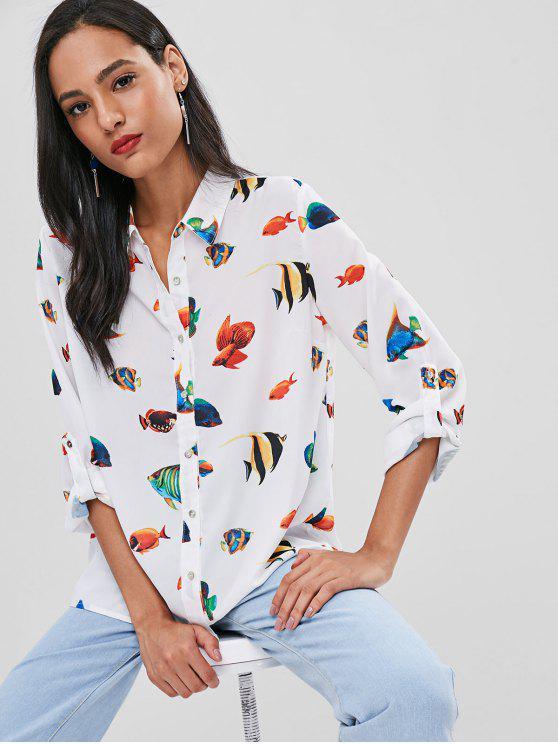 sale Fish Print Casual Flowy Shirt - WHITE L