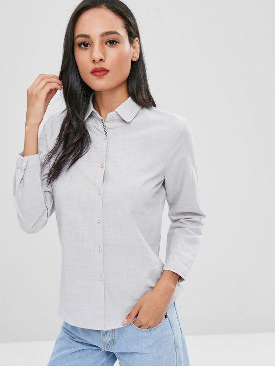 best Embroidered Cotton Shirt - LIGHT GRAY XL