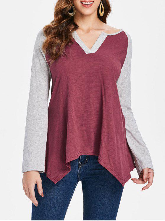 T-shirt à ourlet asymétrique avec manches raglan - Rouge vineux  2XL
