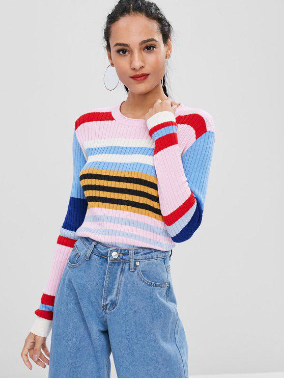 hot Ribbed Color Block Sweater - MULTI XL