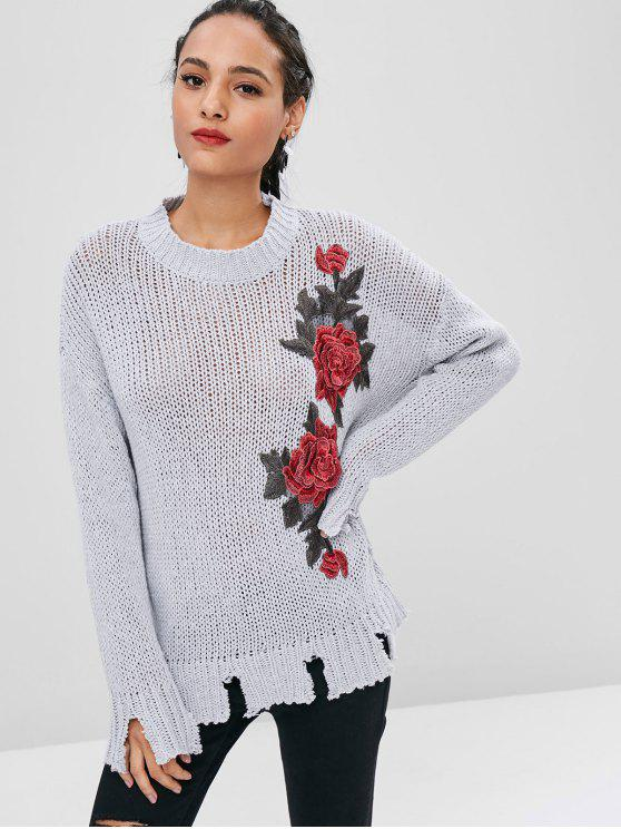 unique Floral Patched Ripped Hem Sweater - LIGHT GRAY M