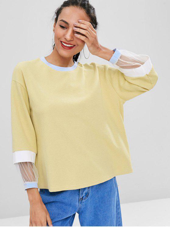 latest Mesh Panel Contrast Sweatshirt - SUN YELLOW ONE SIZE