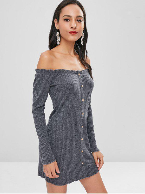 shop Buttons Off Shoulder Fitted Dress - DARK GRAY S