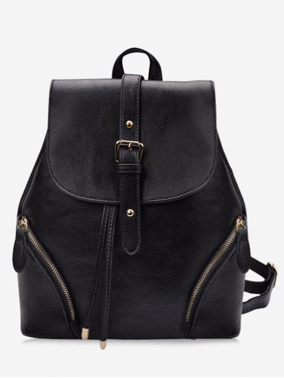 fancy Chic Flapped Functional Travel Backpack - BLACK
