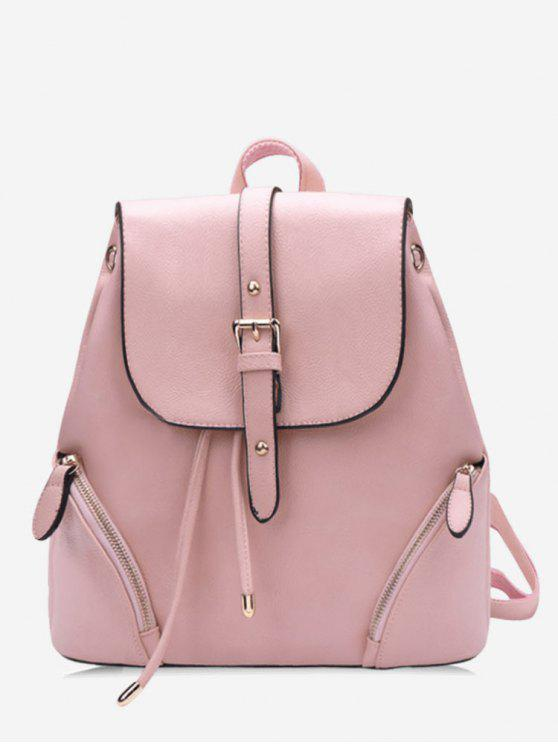 buy Chic Flapped Functional Travel Backpack - LIGHT PINK