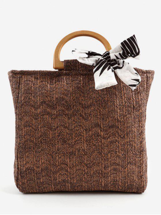 Lässige gewebte Holzgriff-Einkaufstasche - Kafee